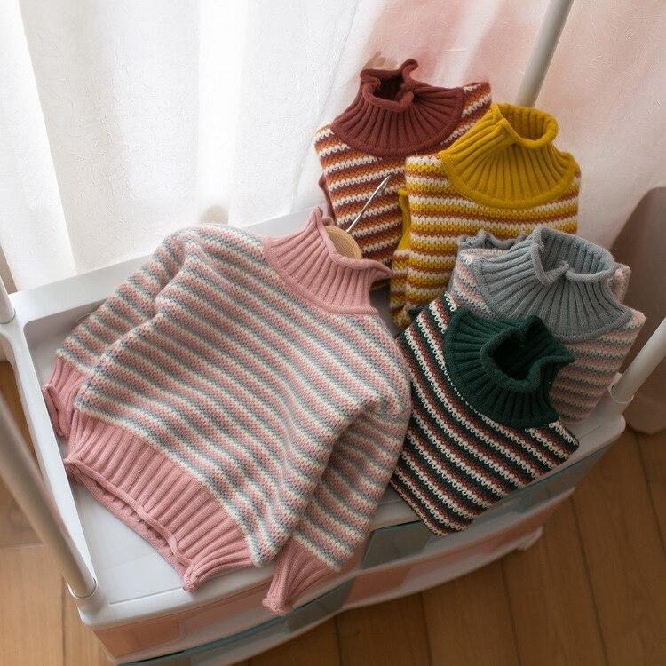 Зимние плотные трикотажные рубашки с высоким воротником для мальчиков и девочек, однотонный пуловер с высоким воротником, свитер