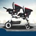 Gêmeo carrinho de criança pode sentar pode mentir alta paisagem portátil dobrável duplo buggy