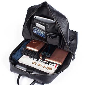 MVA Men Backpacks Genuine Leather School Laptop Backpack Waterproof Slim Backpack Travel Teenager Backpack Bag Male Bagpack 8110
