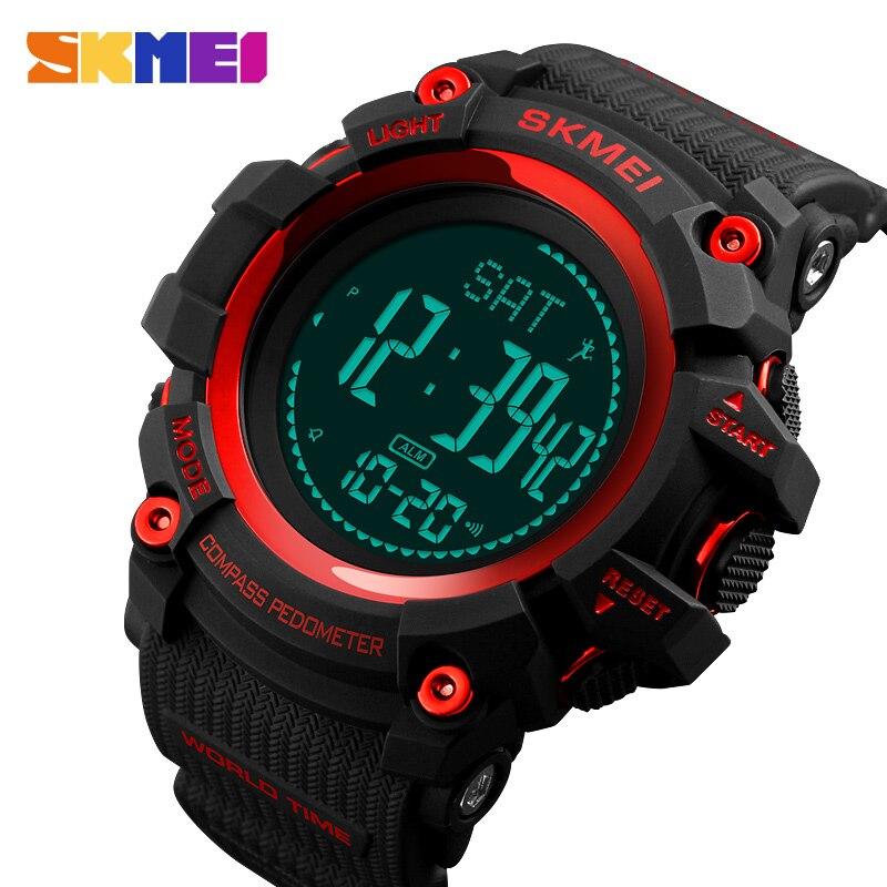 SKMEI Men Watches Sports-Clocks Electronic-Alarm Pedometer World-Time Masculino Waterproof
