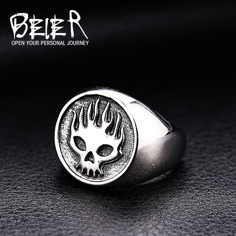 Beier 316L Stainless Steel ring Cool Motorcycle Biker Fire Skull Ring special fashion jewelry BR8-315
