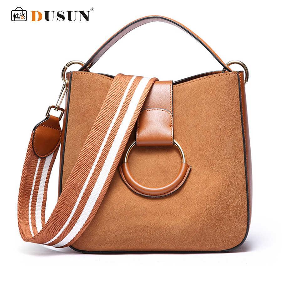 DUSUN Genuine Leather Messenger Bags Women Vintage Shoulder Bags Ladies  Winter Ring Handbag Woman Wide Strap 192eb8eb3a2c5