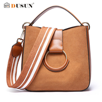 DUSUN Genuine Leather Messenger Bags Women Vintage Shoulder Bags Ladies Winter Ring Handbag Woman Wide Strap