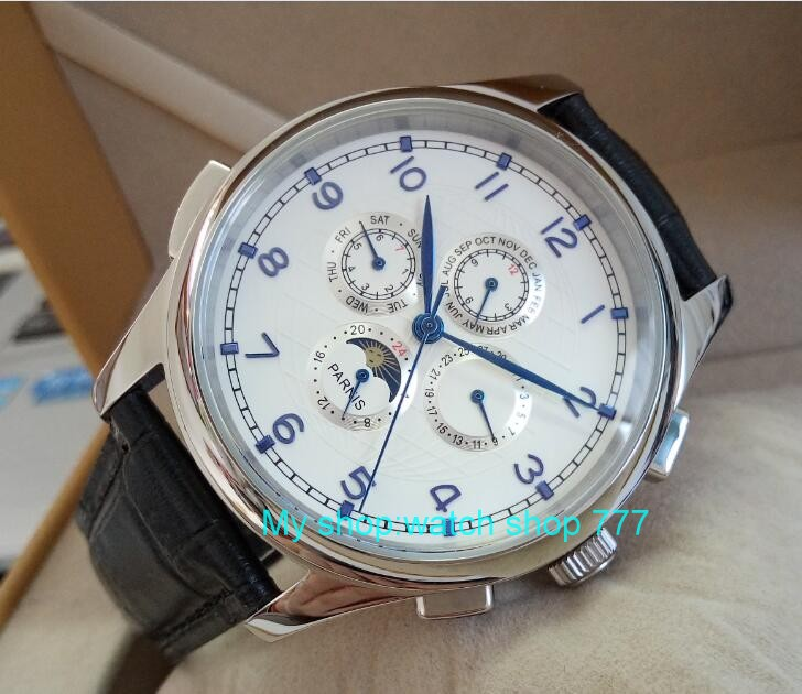 44mm PARNIS White dial Blue hands Moon Phase Automatic Self-Wind Mechanical movement men watches Mechanical watches newest 44mm parnis white dial moon phase complete calendar golden plated case automatic self wind movement men s wristwatches