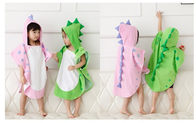Hooded With Paw Dinosaur Ponchos/Hooded Children's Bath Towel/Kids Beach Towel/Infant Ponchos