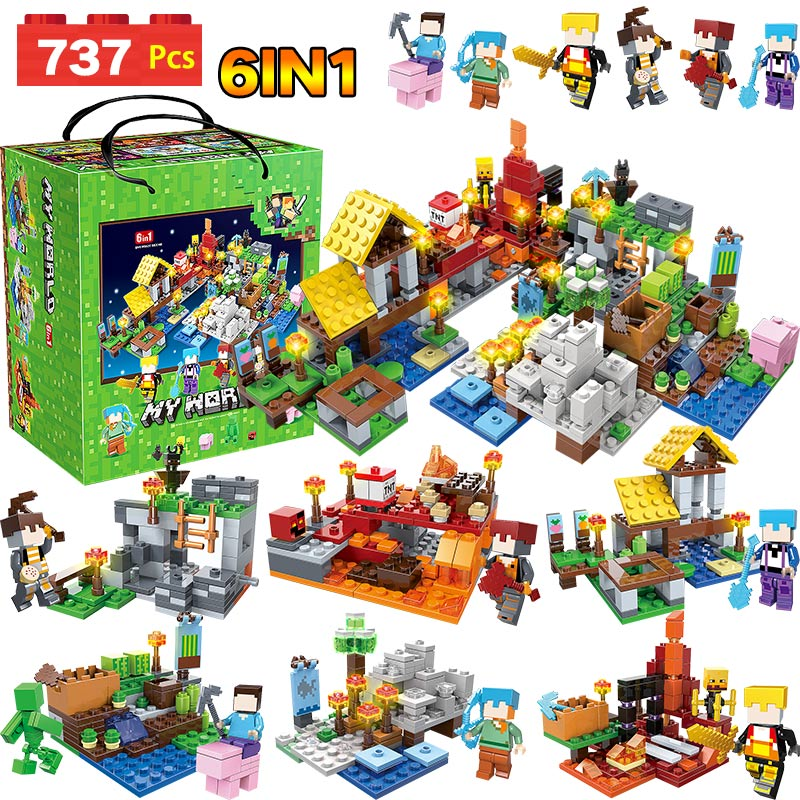 737pcs MY WORLD Compatible Legoinglys Minecrafted Figures Arms Building Blocks Defend Home Zombie Figures DIY Toys For Children