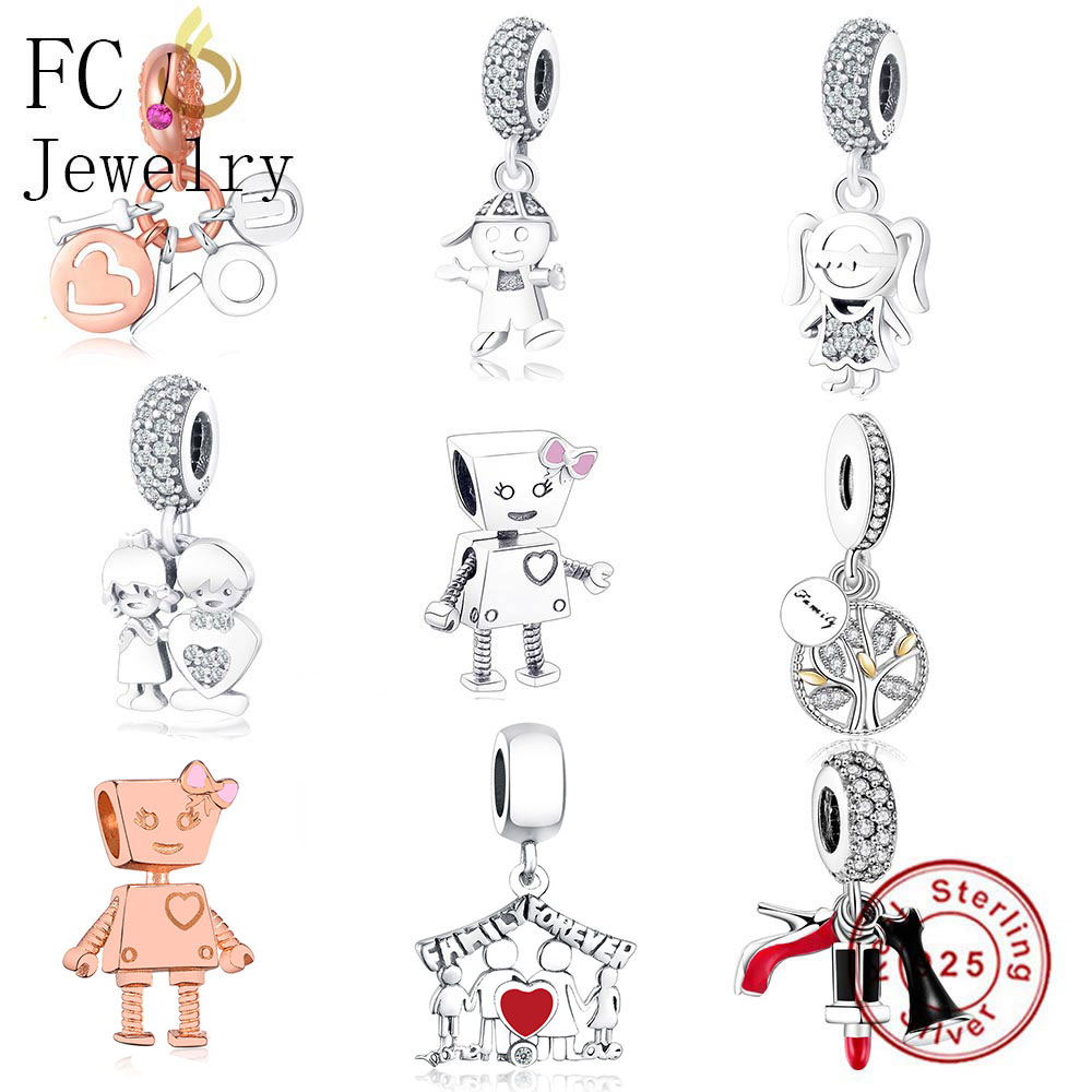 FC Jewelry Fit Original Pandora Charm Bracelet 925 Silver Family Robot Boy Girl Letter Best Friends Bead Pendant DIY Berloque ...