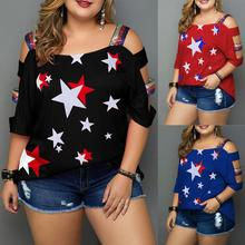 Women Plus Size Casual Summer blouse Tops star Print Off Shoulder Slings Sleeve Top Shirt