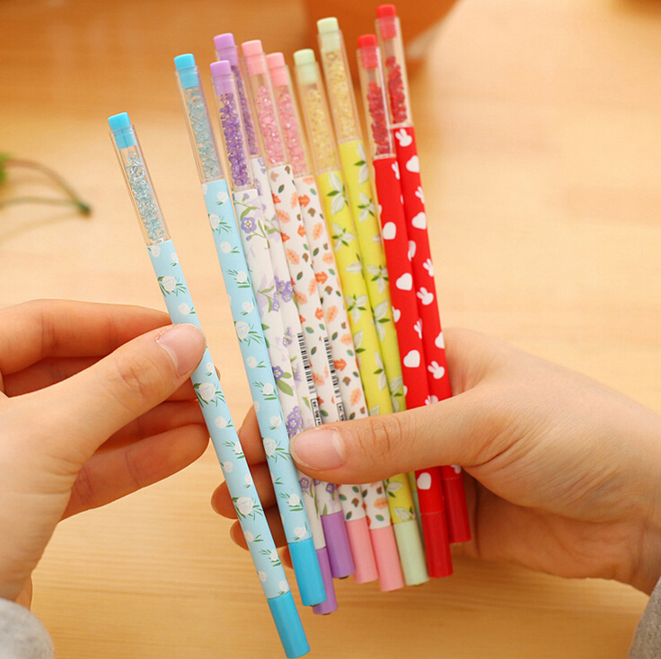 Fresh Style Floral Rhinestone Gel Ink Pen Promotional Gift Stationery School & Office Supply Escolar Papelaria недорого