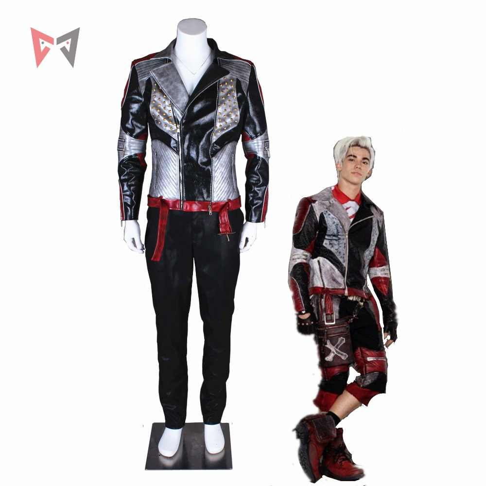 MMGG Descendants 2 cosplay Carlos Cosplay costume Leather jacket punk style  Custom Made size party top