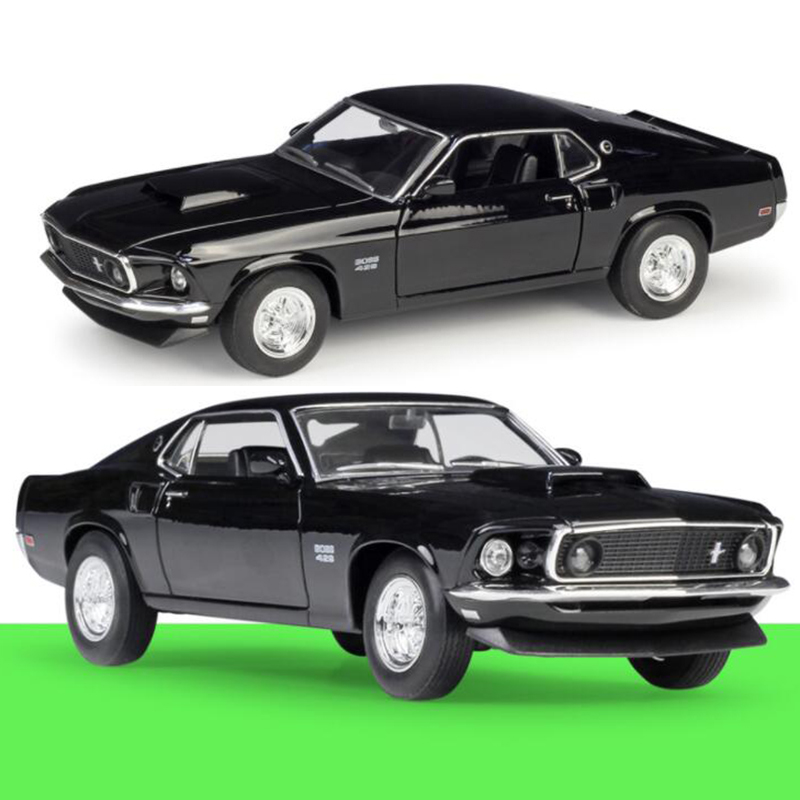 About 19CM 1/24 Scale 1969 <font><b>Ford</b></font> <font><b>Mustang</b></font> Metal Alloy Classic Car Diecast Model Boss 429 Toy Welly Collecection Toy for Kids Child image