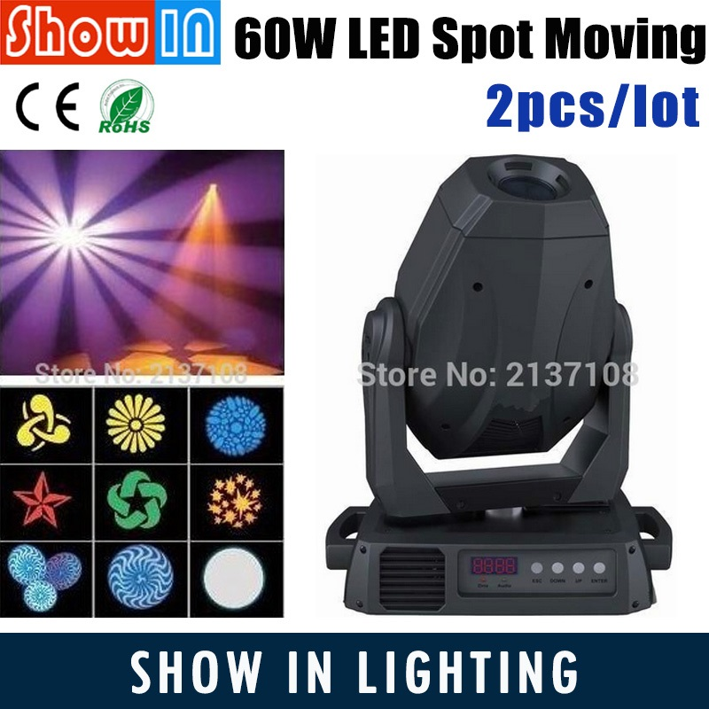 60W Lyre Avec Gobo LED Moving Head Spot Beam Wash Light DMX 512 Professional DJ Disco Party Wedding Stage Lighting Projector
