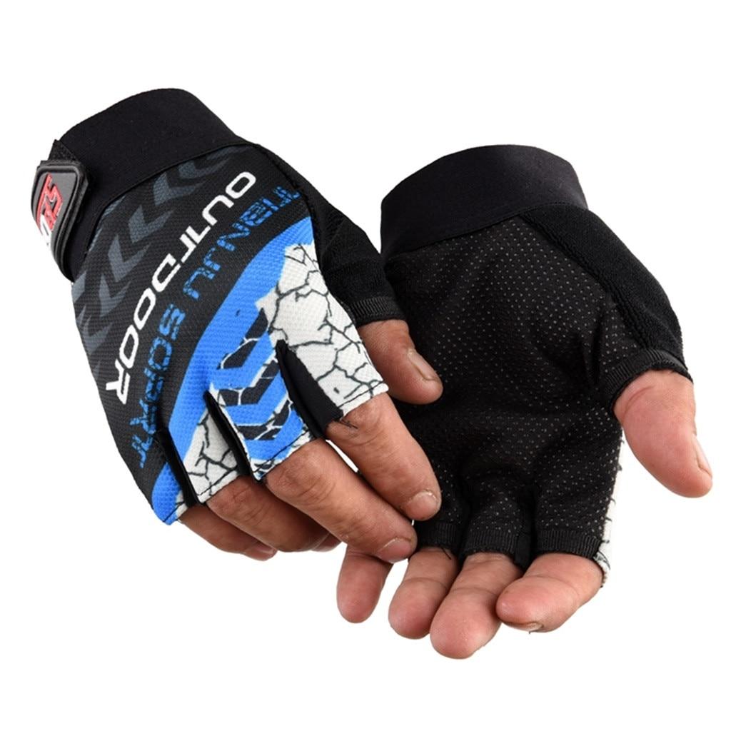 Unisex Outdoor Sport Open-Fingered Gloves Tight Non-slip Shock Absorption Mitten