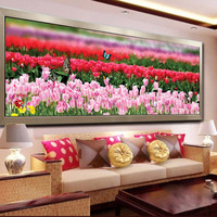 Tulip Butterfly Flowers DIY 5D DIY Rubik S Cube Round Diamond Painting Cross Stitch Embroidery Kit