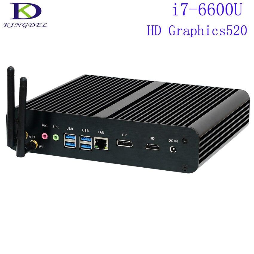 3-Year Warranty Newest Fanless Mini PC,HTPC,6th Gen Core i7-6600U SKYLAKE CPU,Office Desktop Computer,HDMI+DP,Wifi,Windows10 Pro