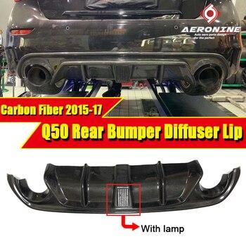 For Infiniti Q50 JDM LH style Rear Rumper Add-on Diffuser W/VENT Design Carbon fiber with LED brake light Q50S Bumper lip 15-17