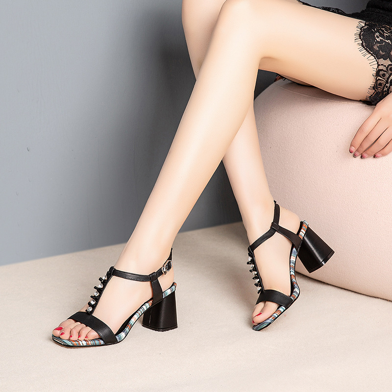 Mixed Color Sandals 2019 Fashion Square toe Ankle Buckle Strap Summer Shoes White Casual Ladies Retro SandalMixed Color Sandals 2019 Fashion Square toe Ankle Buckle Strap Summer Shoes White Casual Ladies Retro Sandal
