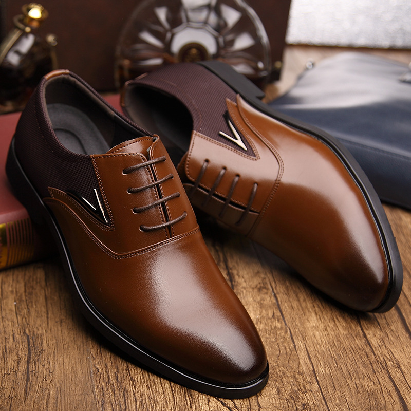 British Men's Genuine Leather Business Dress Shoes Black Brown Pointed Toe Lace-up Wedding Shoes Fashion Men Flats Oxfords 2.5A men s pu leather wedding flats new british men shoes fashion man pointed toe formal wedding shoes male dress shoes