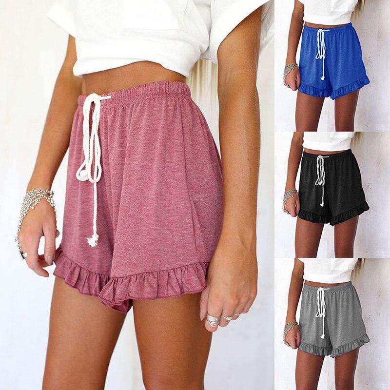 2019 Fashion Ruffle Hem Belted Women Shorts Casual Loose Solid Shorts Mid Waist Bottom Short Pants Large Size Summer
