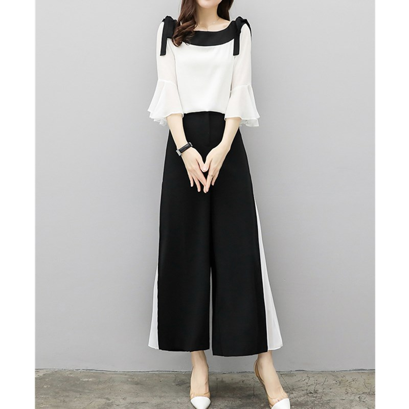 2019 Fashion Elegant 2 Pieces Suits Chiffon Flare Blouse Wide Leg Pants Sets Black White Two Pieces Sets