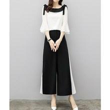 2019 Fashion Elegant 2 Pieces Suits Chiffon Flare Blouse Wide Leg Pants Sets Black White Two