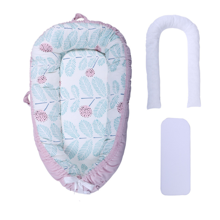 Детская кроватка-гнездо переносная съемная и моющаяся кроватка дорожная кровать для детей Младенческая Детская Хлопковая Колыбель - Цвет: Pink Fruits