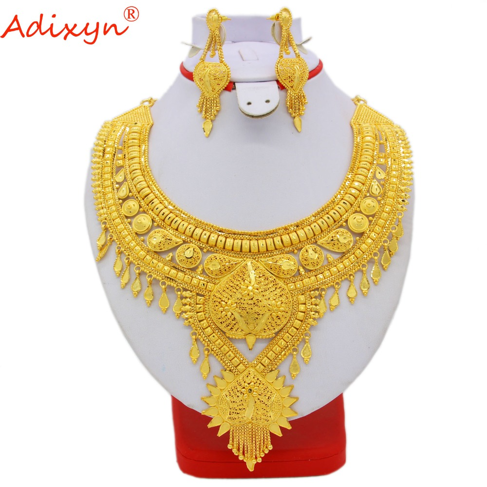 купить Adixyn India Necklace&Earrings Jewelry Set for Women Gold Color Bling Hanging Jewelry Ethiopian/Arab Wedding/Party Gifts N060511 недорого