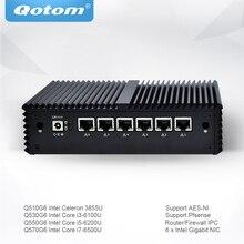 Qotom Мини ПК с Celeron Core i3 i5 i7 Pfsense AES-NI 6 гигабитный NIC маршрутизатор брандмауэр поддержка Linux Ubuntu ПК без вентилятора Q500G6