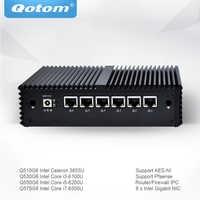 Qotom Mini PC with Celeron Core i3 i5 i7 AES-NI 6 Gigabit NIC Router Firewall Support Linux Ubuntu Fanless PC Q500G6