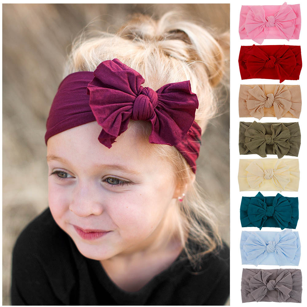Hair Bows For Baby Girls Kids Toddler Headband Stretch Turban Knot Head Wrap /&