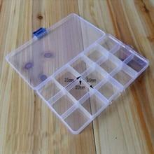 Portable 15 Slots Adjustable Plastic Fishing Tackle Storage Box