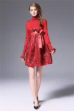 Для женщин вечерние линия платье женские офисные элегантные звезды вязаный пэчворк Вышивка цветочный черный, красный платье с длинным рукавом платье империи
