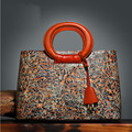 free delivery  Genuine Leather women bag  Chinese style retro flower hand bag Ethnic wind handbag Large capacity Tote bag