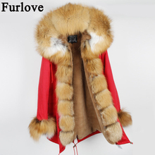 Women's Winter Coat Luxury Big Fox Fur Collar Cuff Hooded Coat Detachable Faux fur Liner Parkas Outwear Long Winter Jacket