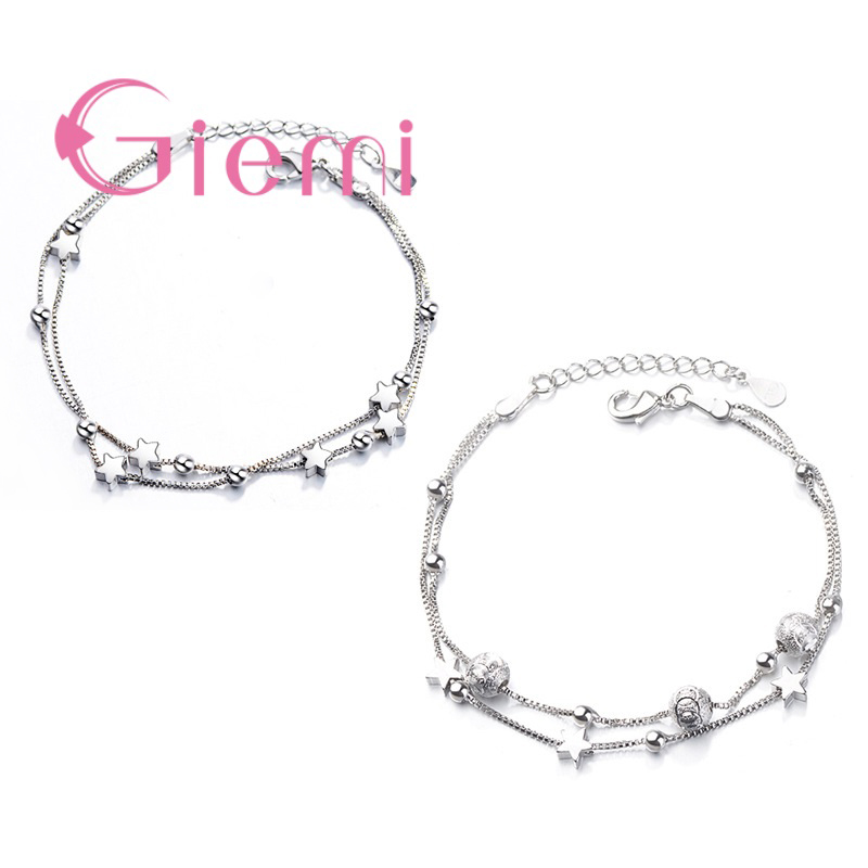 Double Layer Stars Beads Link Chain Bracelet Lovely Shiny 925 Sterling Silver Bangles for Women Fashion Valentine's Day Gift