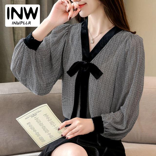 a0bb8388624b9 Negro Plaid camisas mujeres otoño v-cuello Blusas mujeres Tops elegante  manga larga gasa blusa