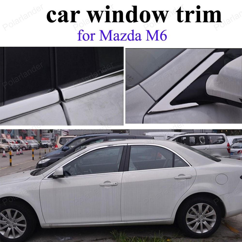 Accessoires extérieurs garniture de fenêtre pour m-azda M6 bâche de voiture en acier inoxydable sans colonne