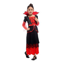 Child Girls Vampire Queen Costume Vampiress Kids Costumes Halloween Purim Party Carnival Cosplay Dress