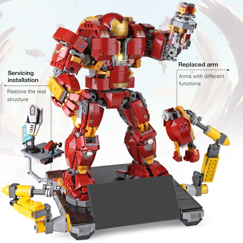 Lepin 07101 1527Pcs Super Hero Series Iron Man Anti Hulk Mech Toy Building Bricks Blocks Model Compatible with LegoINGlys 76105 2018 hot compatible legoinglys marvel super hero avengers with light building blocks iron man mk43 mech brick toys for children