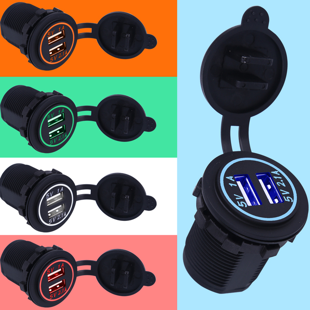Waterproof USB Car Charger Dual Socket 5V 2.1A / 1A For iPhone 5 5s SE 6 6s Plus 7 7 Plus 4 4s 5c Car Charge Socket