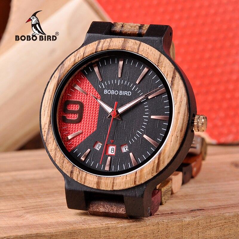 BOBO BIRD New Timepieces Mens Wooden Watch Auto Date Luxury Quartz Wristwatches relogio masculino C-Q13-1 Drop Shipping