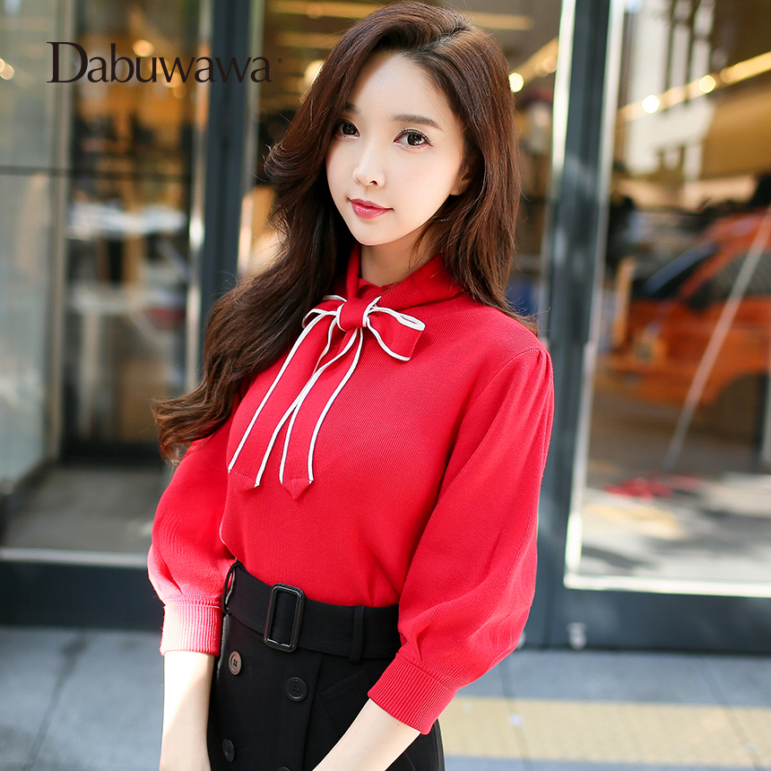 Dabuwawa Red Three Quarter Sleeve Sweater Pullovers Female Bow Sweaters Elegant Cotton Women Knitted Sweater