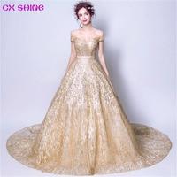 CX SHINE Gold Train Formal Evening Dress Off Shoulder Sequined Dresses Bride Ball Gown Catwalk Dress