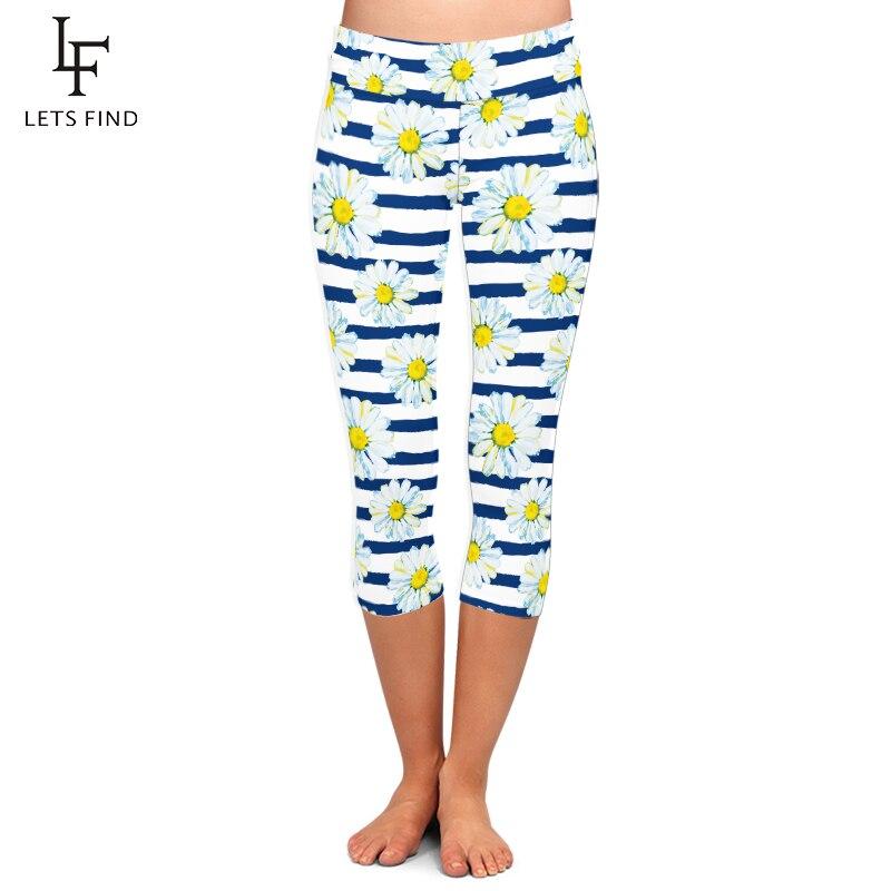 LETSFIND Summer New Daisy Design Women Capri Leggings Fashion Casual Mid 3/4 Fitness Leggins Plus Size Hot Sale