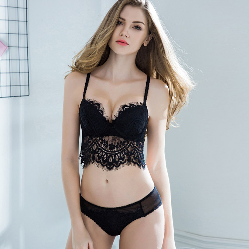 2cf573919e8 CINOON High Quality bra brief sets sexy lace lingerie push up underwear for women  solid color women brassiere Free shipping-in Bra   Brief Sets from ...