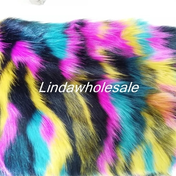 Multi-color jacquard plush cloth, high-grade imitation fox fur, rainbow plush faux fur fabric,170cm*90cm(one yard)/pcs