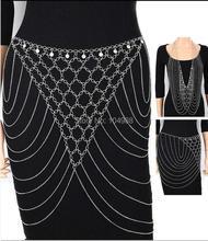 Women Fashion Silver Chains Rhinestone Belt Belly Chains Sexy Layers Waist Jewelry