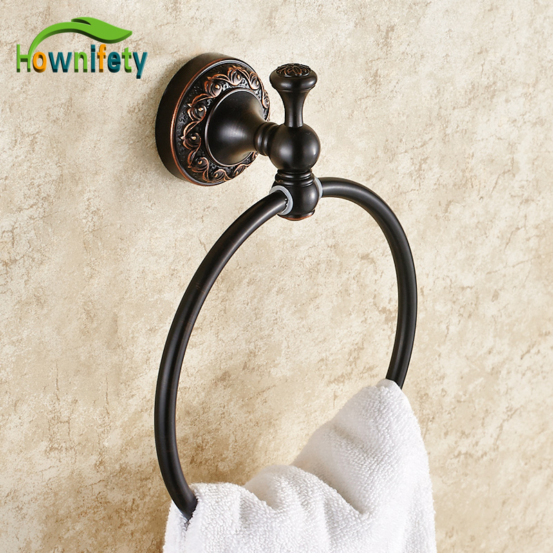 Oil Rubbed Bronze Towel Rings Flower Carved Towel Rack Bathroom Towel Holder free ship beauty oil rubbed bronze bath towel rings soild brass towel bracket