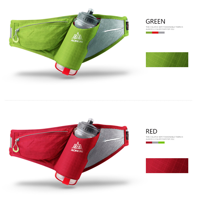 Foto of green and red colors sport's hydration belt for phone. Unisex pack phone holder for fitness