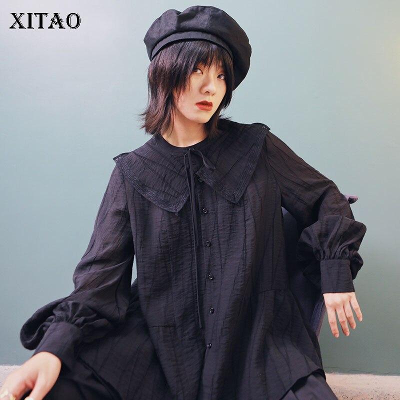 XITAO Vintage poupée col lanterne manches chemise noir simple boutonnage Blouses femme Style coréen lâche grande taille hauts GCC1171